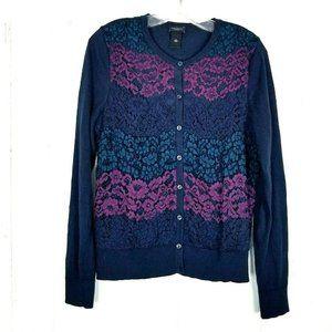 Ann Taylor Floral Lace Cardigan Size Medium